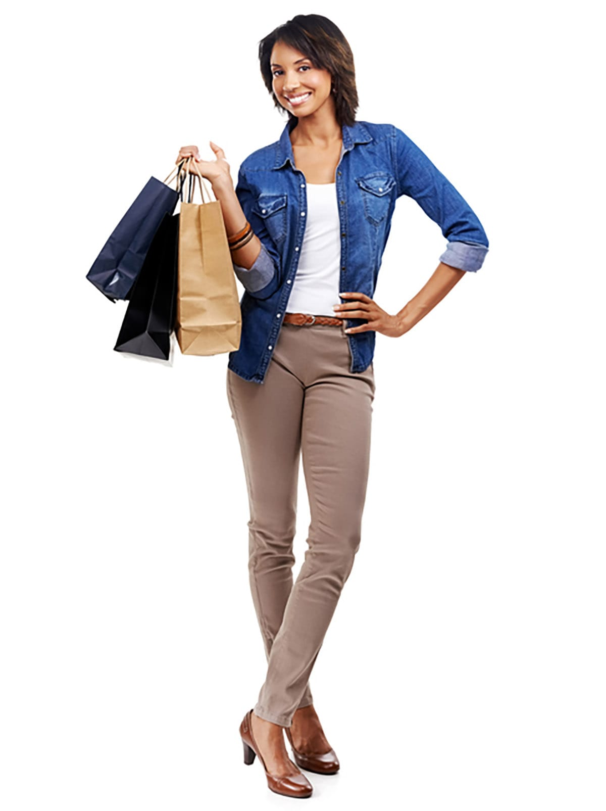 Trendy female posing with shopping bags